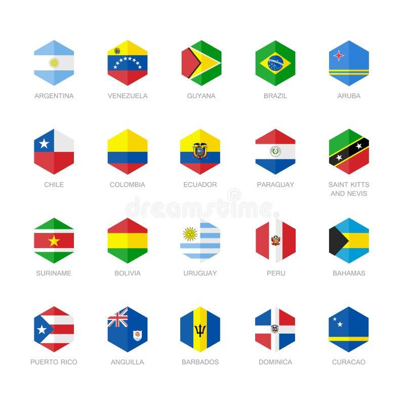 Ámérica do Sul e ícones das caraíbas da bandeira Projeto liso do hexágono ilustração royalty free
