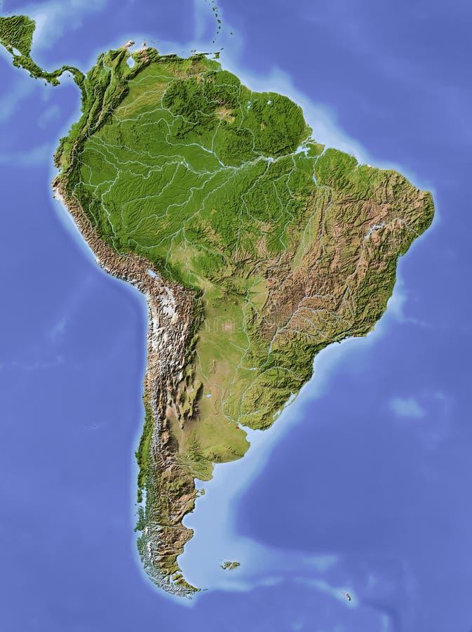 Ámérica do Sul, mapa de relevo protegido ilustração do vetor