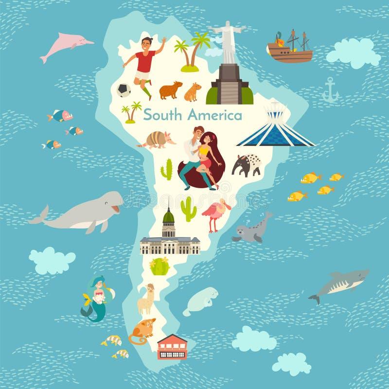 Ámérica do Sul, mapa do mundo com ilustração dos desenhos animados do vetor dos marcos ilustração royalty free