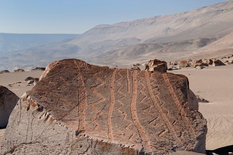 Ámérica do Sul, Peru, Petroglyphs de Toro Muerto fotos de stock