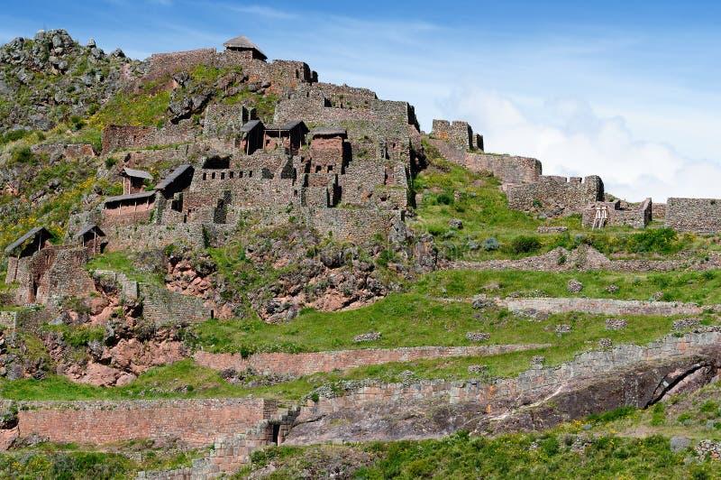 Ámérica do Sul, ruínas do Inca de Pisaq, Peru, vale sagrado, fotografia de stock royalty free