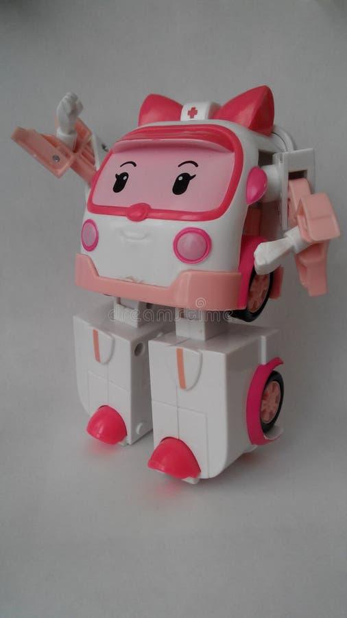 Ámbar de Robocar juguete Sonrisa Anime imagen de archivo
