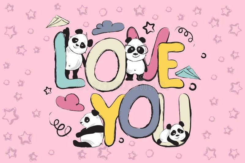 Ámele diseño de la tarjeta de felicitación con los osos y cita de panda lindos stock de ilustración