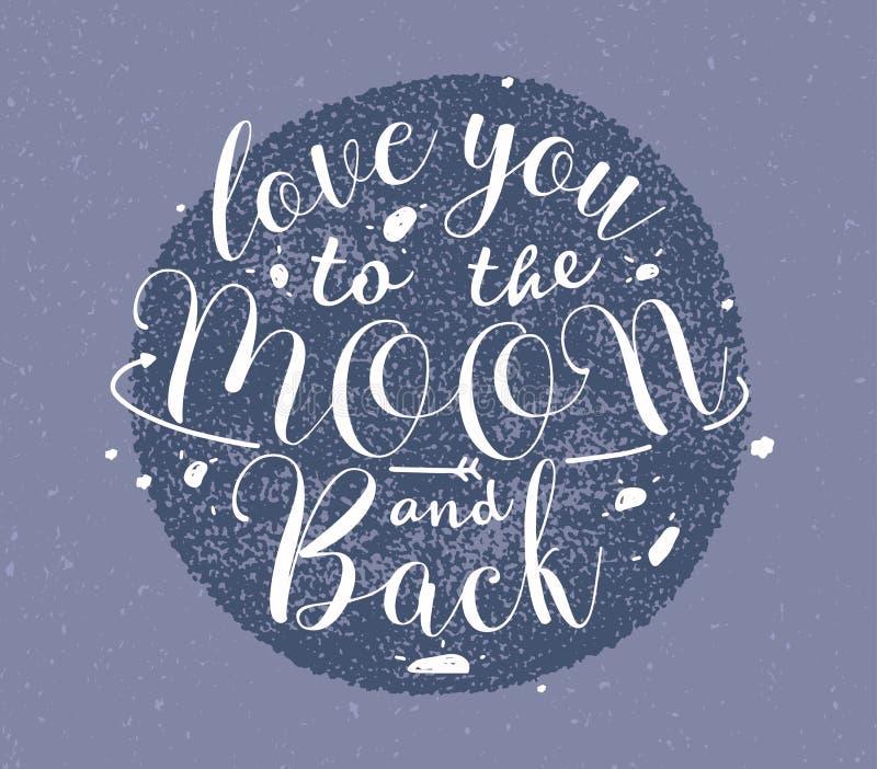 Ámele a la luna y a las letras dibujadas mano trasera Ejemplo monocromático del vector en fondo púrpura ilustración del vector