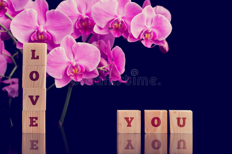 Ámele mensaje con las orquídeas rosadas del phalaenopsis foto de archivo libre de regalías