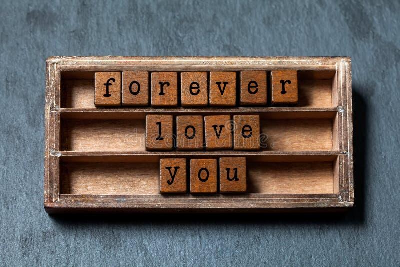 Ámele para siempre mensaje Caja del vintage, frase de madera de los cubos con las letras del viejo estilo Fondo texturizado piedr fotos de archivo libres de regalías