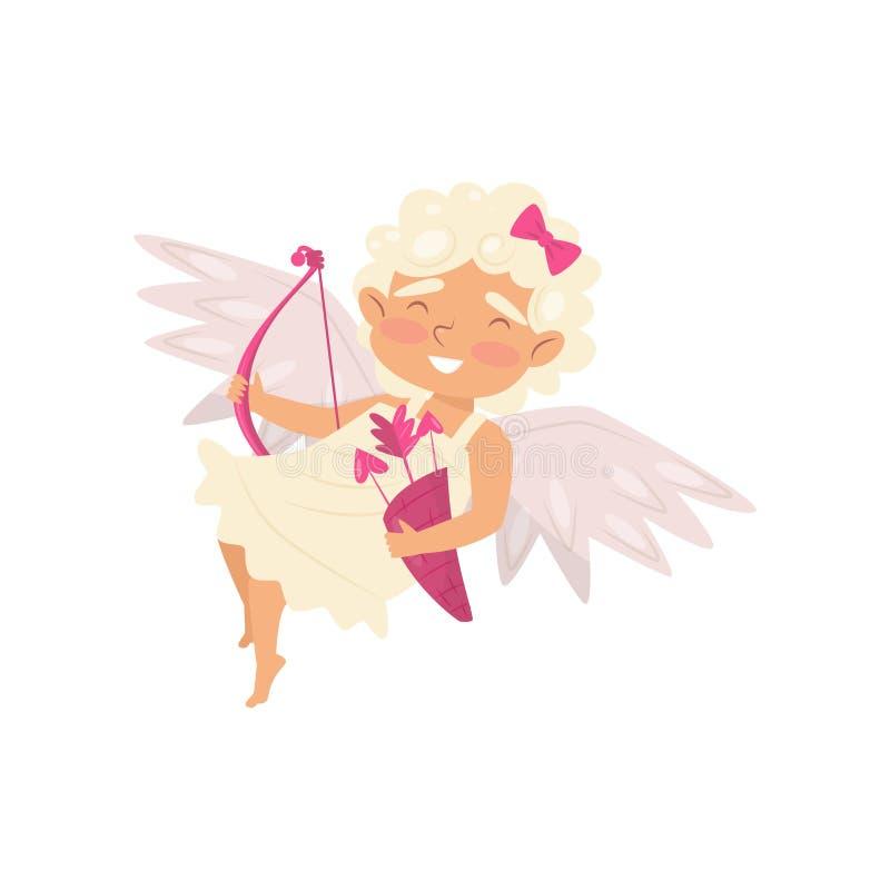 Ángel alegre en la acción del vuelo Bebé adorable que sostiene el arco y flechas rosados Icono plano del vector libre illustration
