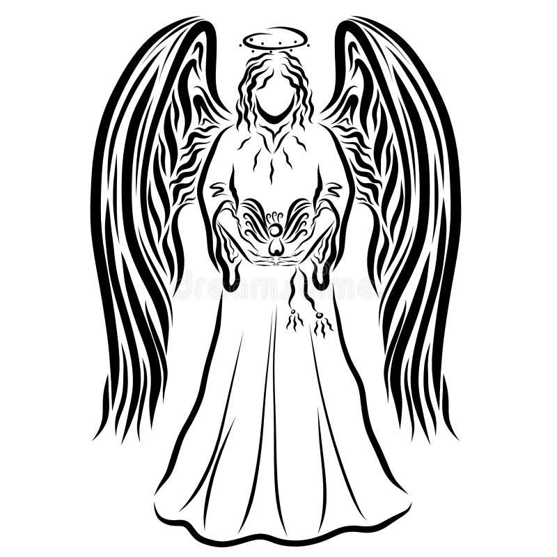 Ángel alto hermoso con las alas grandes, sosteniendo un pájaro ilustración del vector