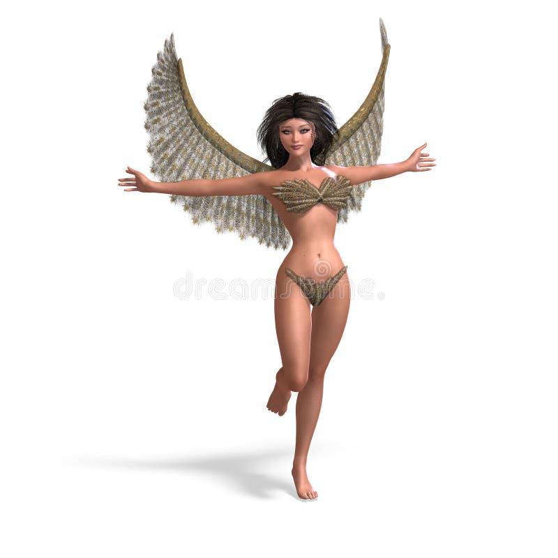 Ángel atractivo y hermoso con las alas ilustración del vector