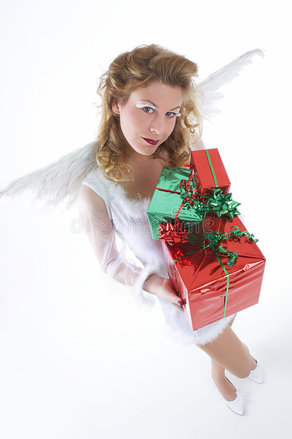 Ángel blanco con el presente fotos de archivo libres de regalías