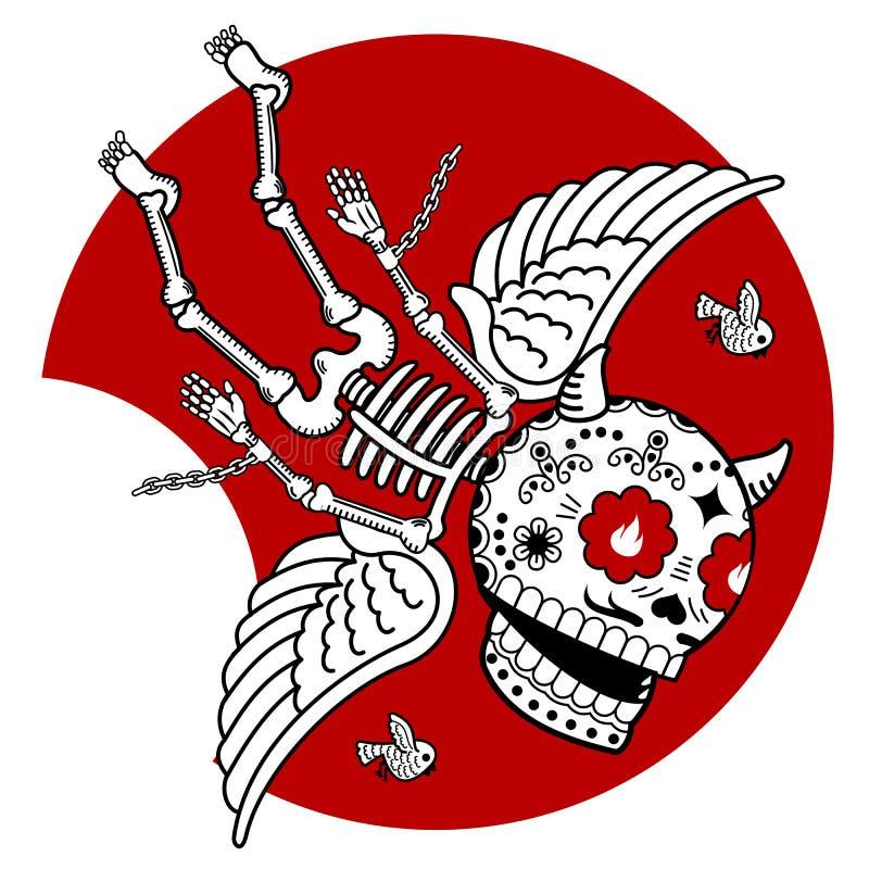 Ángel caido esqueletos stock de ilustración