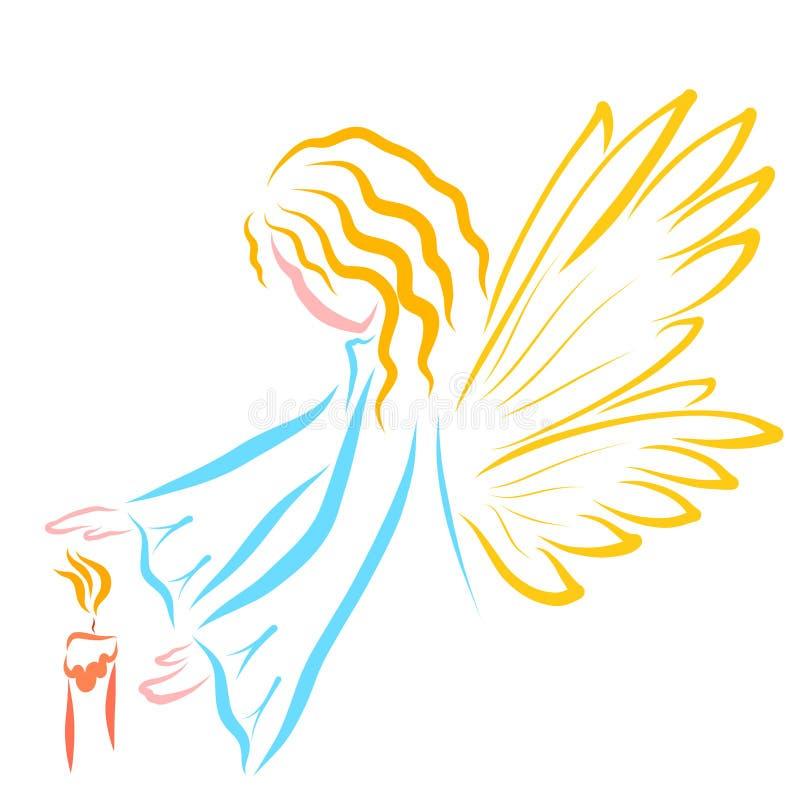 Ángel con alas o hada y la vela libre illustration