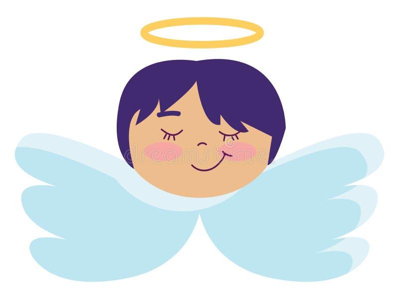 Ángel con el vector de color de ilustración de pelo azul corto stock de ilustración