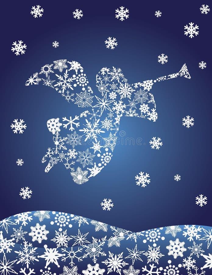 Ángel con la silueta de la trompeta con los copos de nieve stock de ilustración