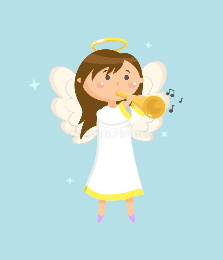 Ángel con la trompeta, Angelic Girl con halo de las alas stock de ilustración