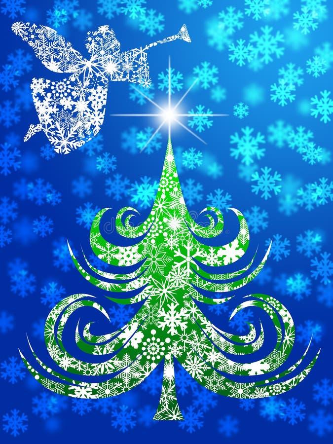 Ángel con la trompeta sobre el árbol de navidad stock de ilustración
