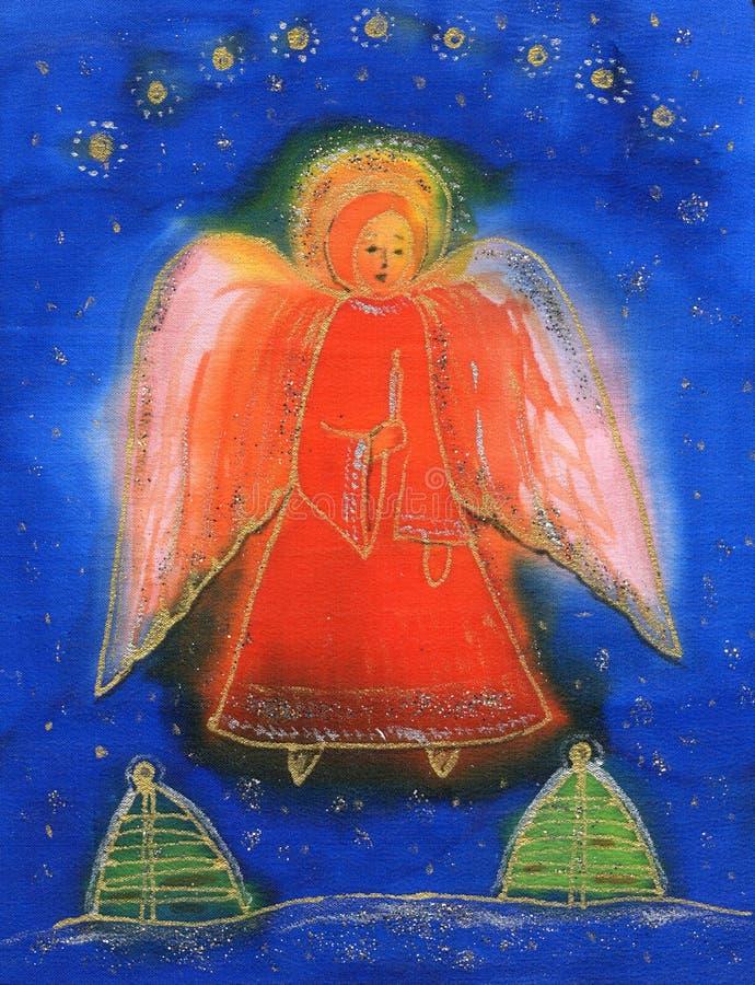 Ángel con la vela ligera. ilustración del vector