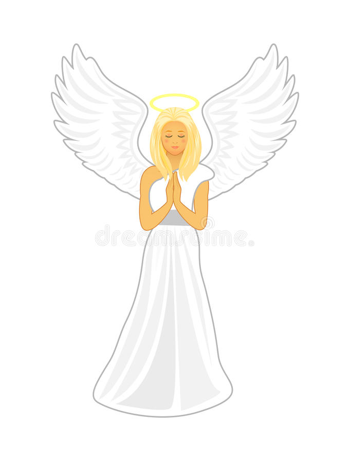 Ángel con las alas blancas grandes y un halo de oro sobre su cabeza ilustración del vector
