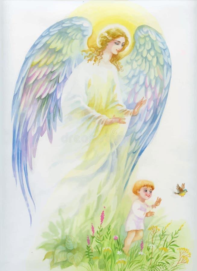 Ángel con las alas que vuelan sobre niño stock de ilustración