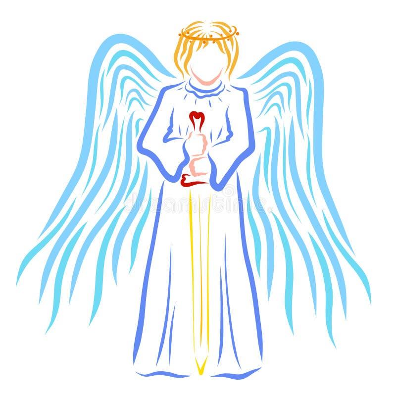 Ángel con un halo o corona en su cabeza y una espada en sus manos stock de ilustración