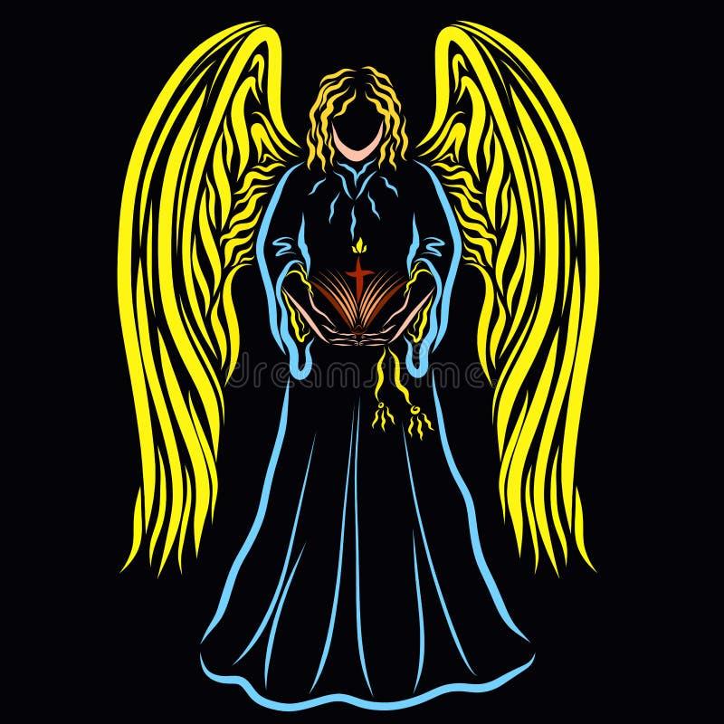 Ángel con un libro abierto y una cruz con una llama contra el CCB libre illustration