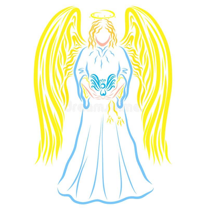 Ángel con un pájaro en las manos, modelo colorido stock de ilustración