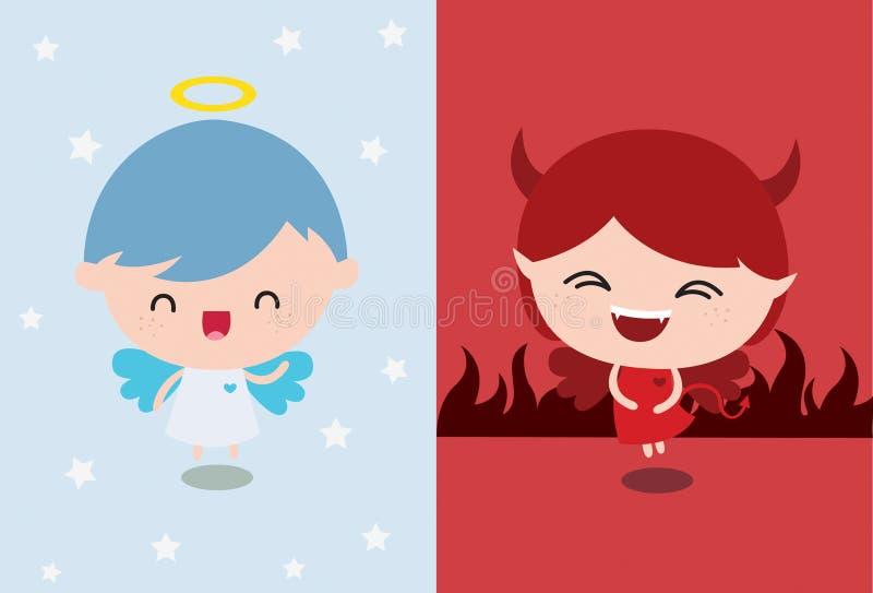 Ángel contra diablo stock de ilustración