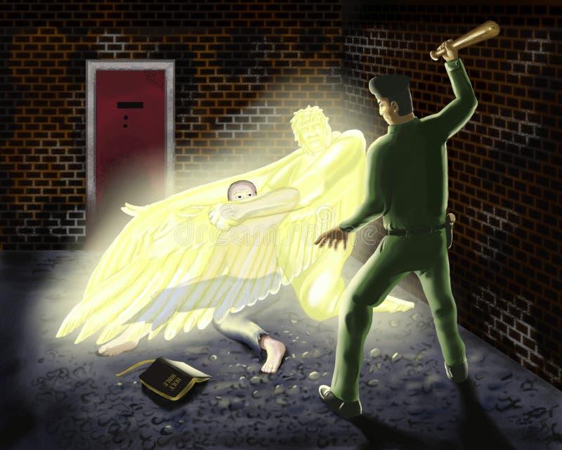 Ángel de guarda de protección stock de ilustración