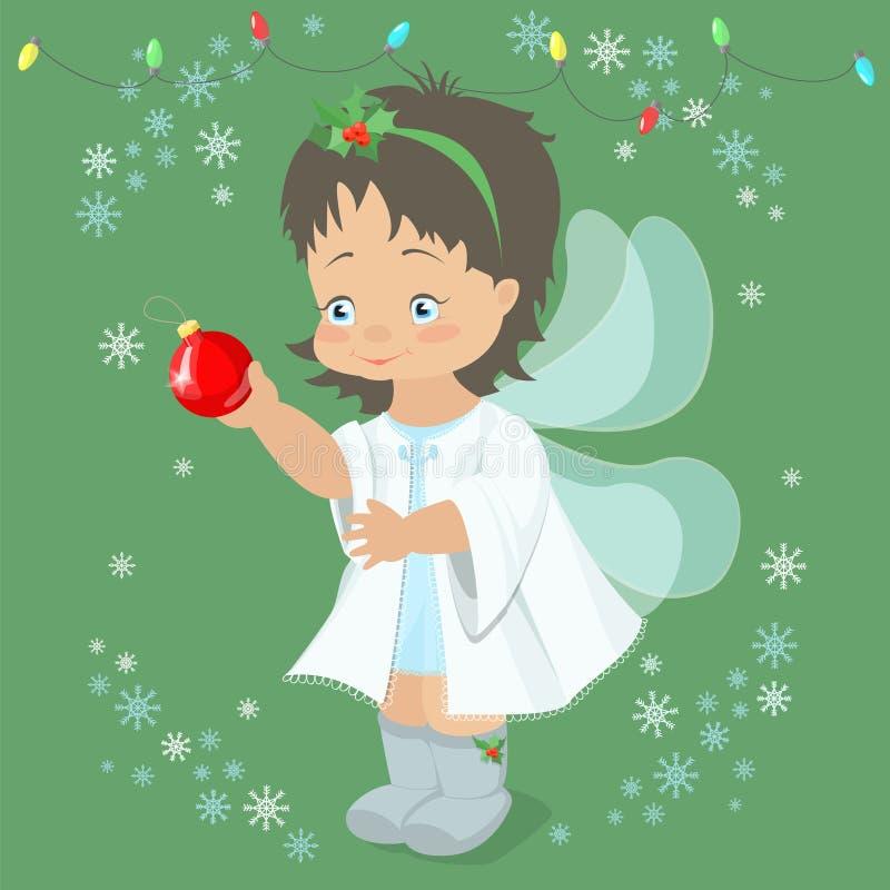 Ángel de hadas de la Navidad que sostiene una bola de la Navidad en su mano Vec stock de ilustración