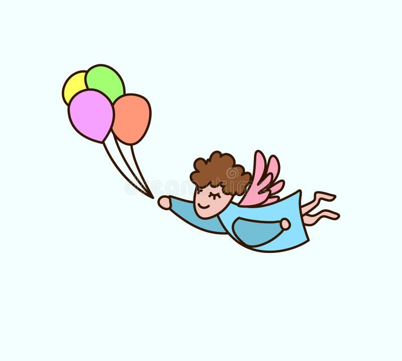 Ángel de la historieta del vuelo del vector con los globos a disposición Tarjeta de felicitación stock de ilustración