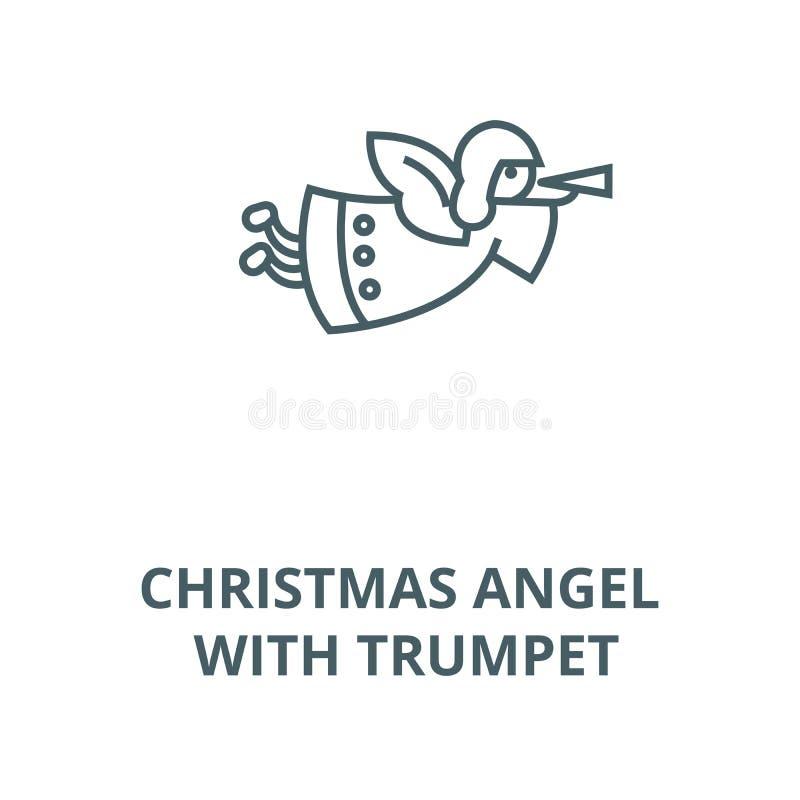 Ángel de la Navidad con la línea icono, vector de la trompeta Ángel de la Navidad con la muestra del esquema de la trompeta, s ilustración del vector