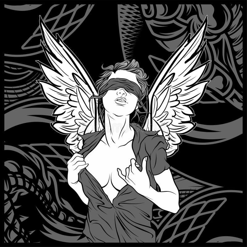 Ángel de las mujeres con vector del dibujo de la mano del ala stock de ilustración