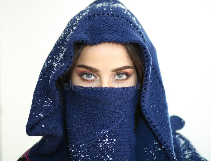 Ángel de los ojos azules de la nieve imagenes de archivo