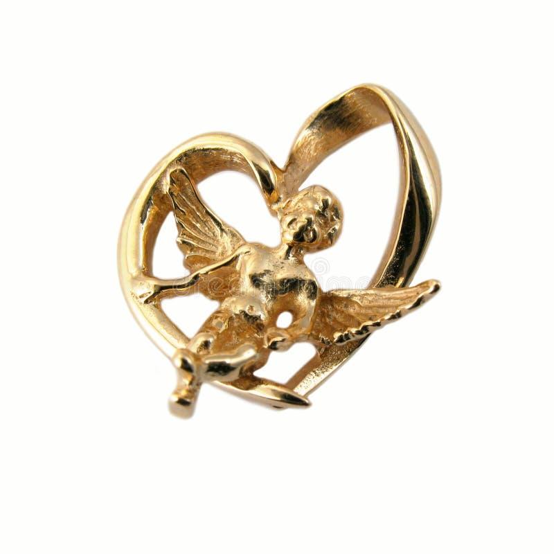 Ángel de oro de la joyería imagen de archivo libre de regalías