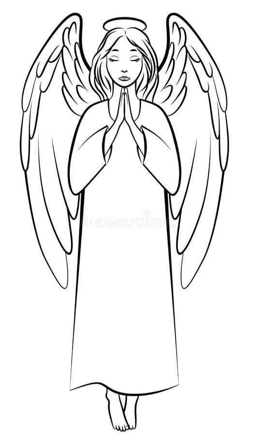 Ángel de rogación del contorno libre illustration