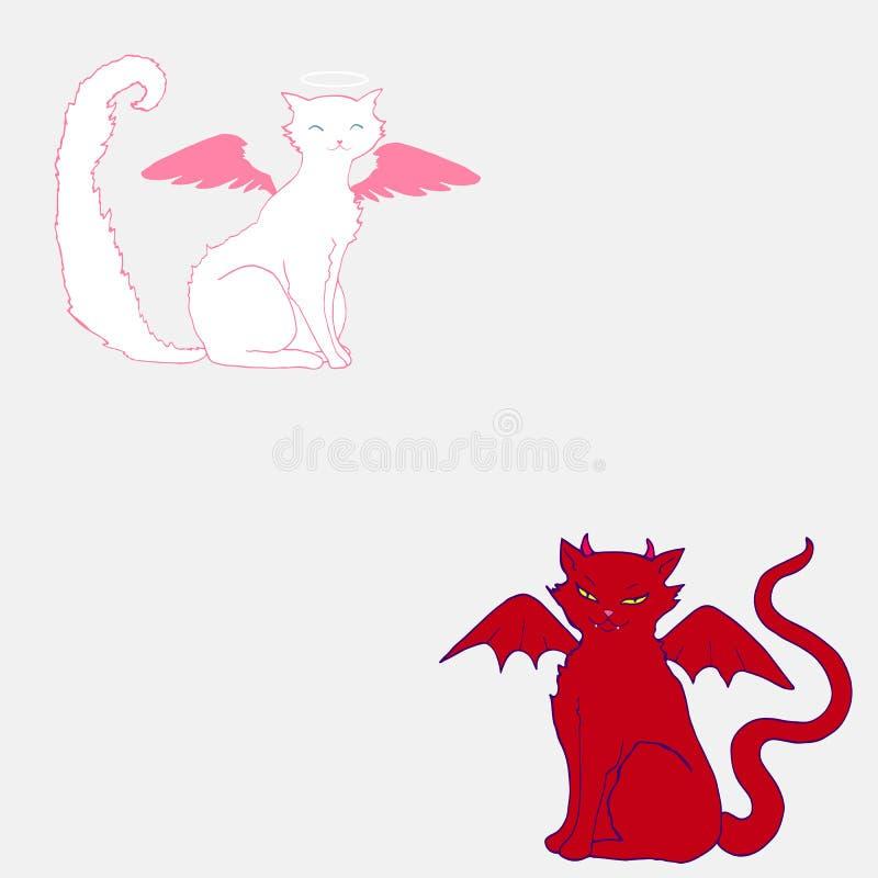 Ángel del gato, color blanco, alas rosadas y un halo sobre la cabeza, y stock de ilustración
