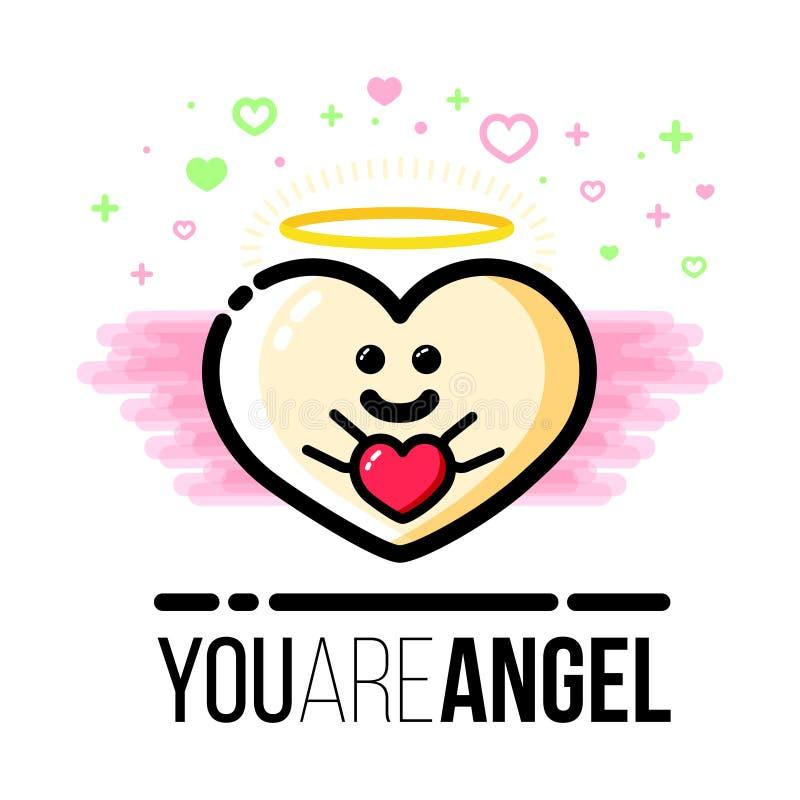Ángel en forma de corazón con las alas que sostienen el regalo Tarjeta de felicitación de Valentine Day del santo Línea plana ico stock de ilustración