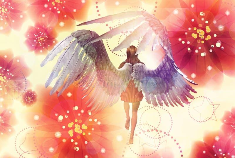 Ángel floral stock de ilustración