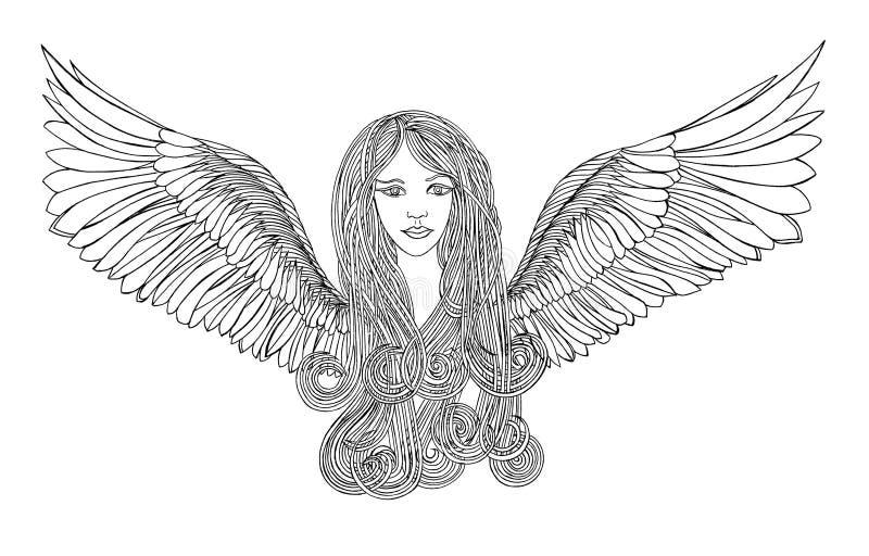 Ángel hermoso con el pelo que agita stock de ilustración