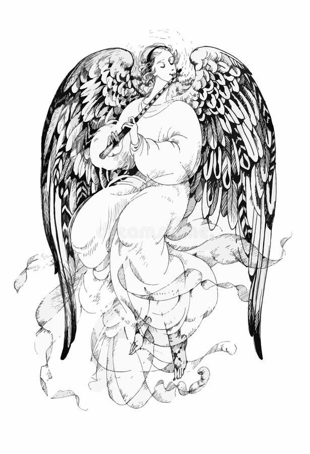 Ángel hermoso con las alas ilustración del vector