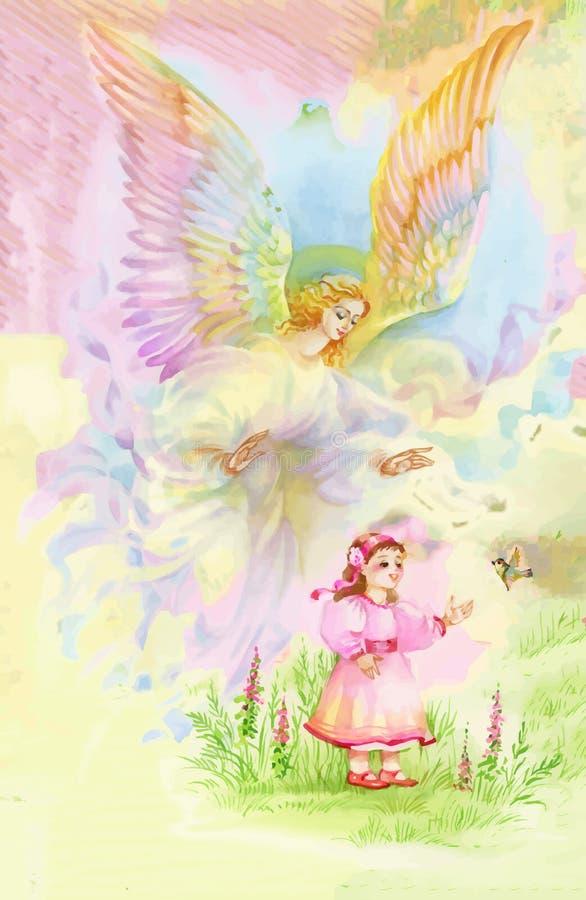 Ángel hermoso con las alas que vuelan sobre el niño, ejemplo de la acuarela ilustración del vector
