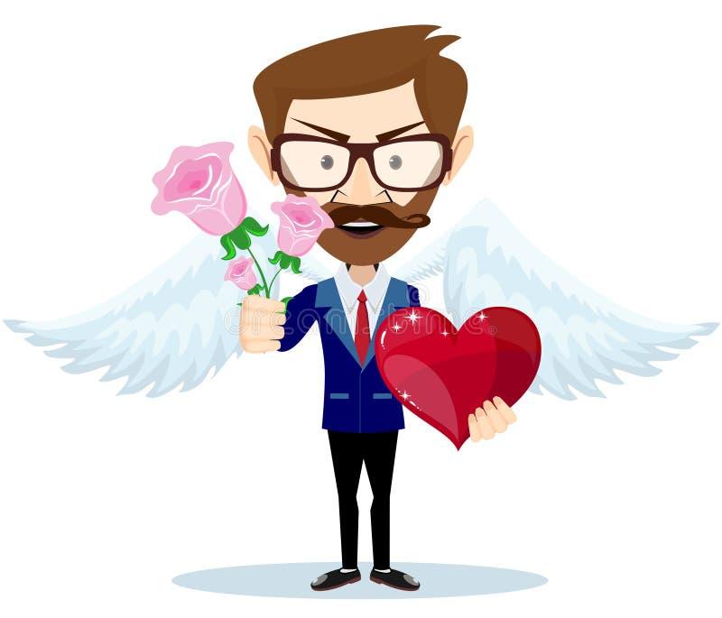 Ángel joven que sonríe y que sostiene el ramo de flores y de corazón stock de ilustración