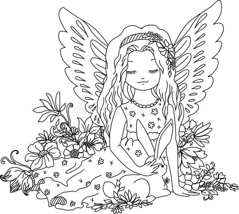 Ángel lindo con el conejito ejemplo de libro de colorear libre illustration