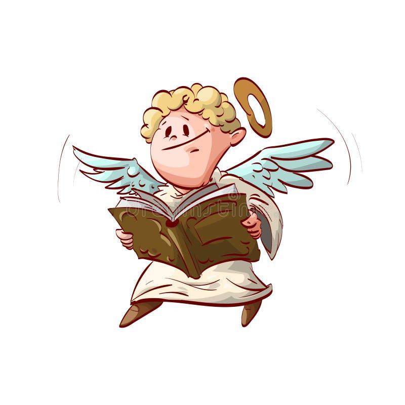 Ángel lindo de la historieta, sosteniendo un libro stock de ilustración
