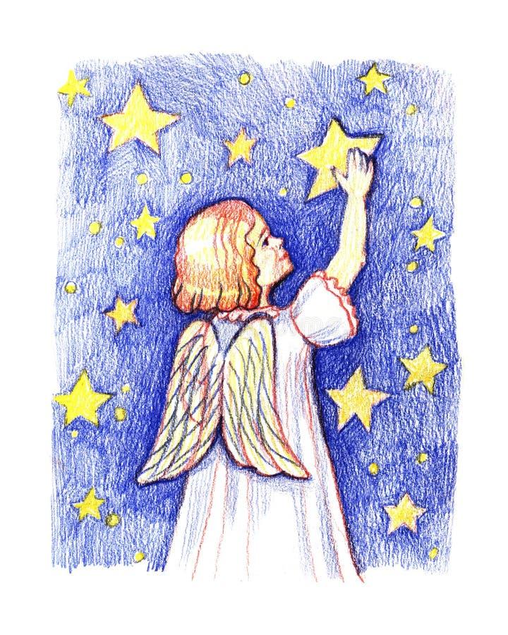 Ángel lindo de la Navidad con la estrella Ejemplo del lápiz del color libre illustration