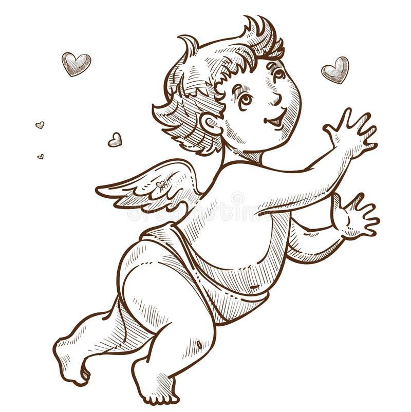 Ángel o cupido con bosquejo del símbolo del día de San Valentín de las alas stock de ilustración