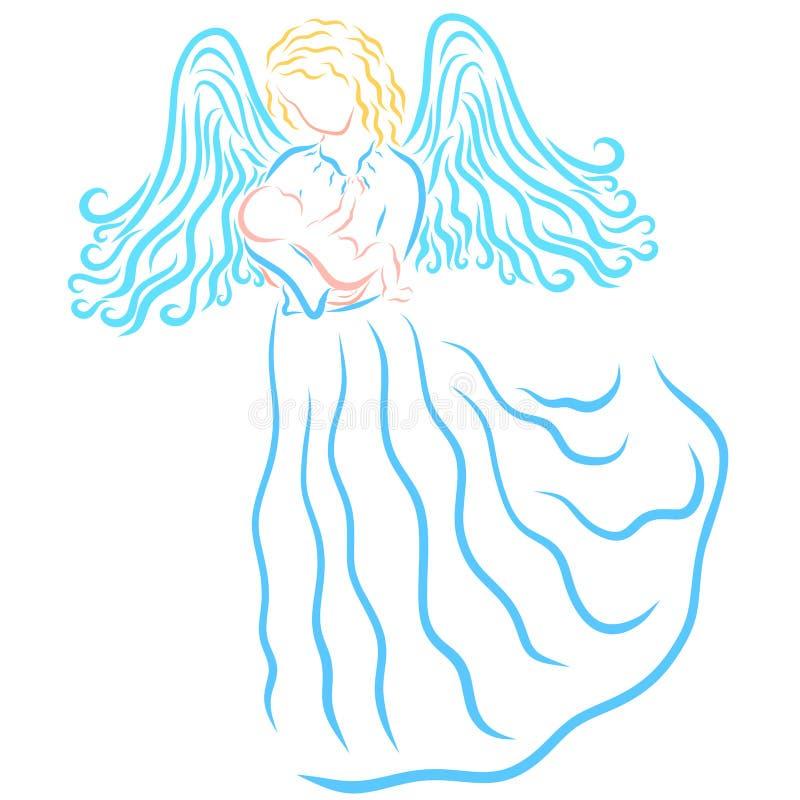 Ángel o mujer coa alas con un bebé recién nacido en sus brazos stock de ilustración