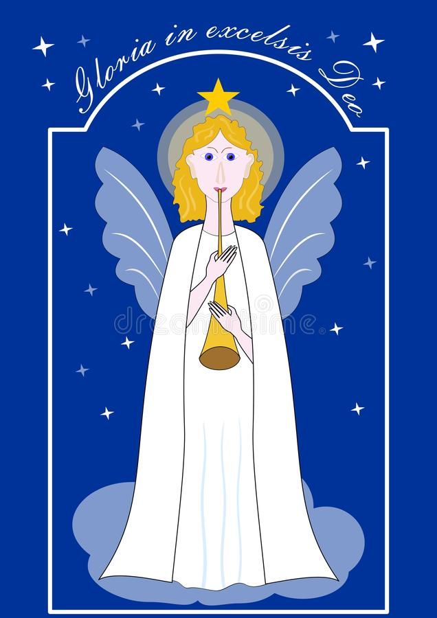 Ángel oro-cabelludo lindo con la trompeta, ejemplo de la Navidad con la inscripción latina Gloria en el excelsis Deo Dibujo encen stock de ilustración
