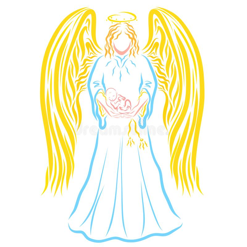 Ángel que detiene a un bebé recién nacido durmiente en sus brazos, patt colorido libre illustration