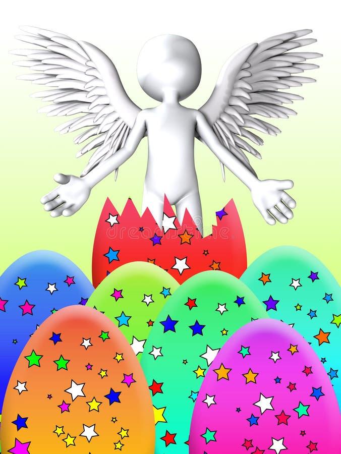 El ángel Explota Del Huevo De Pascua Imagen de archivo